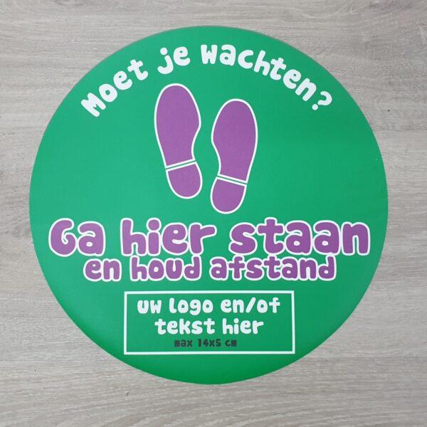 Vloersticker corona delft zoetermeer ga hier staan even wachten eigen logo 1