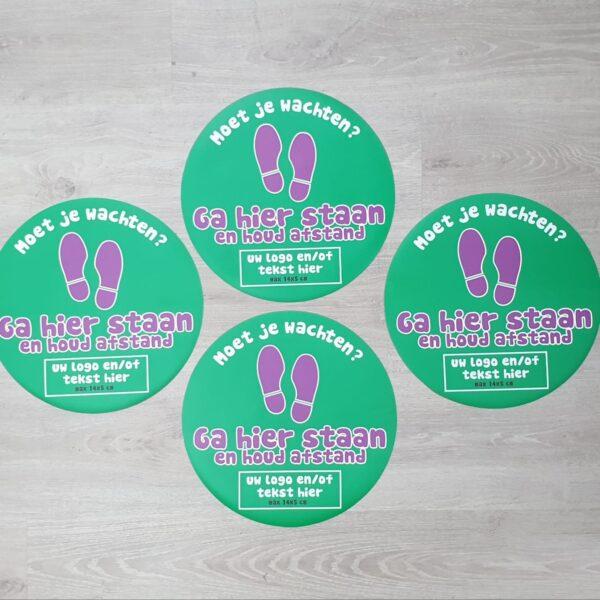Vloersticker corona delft zoetermeer ga hier staan even wachten eigen logo 2